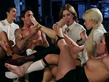 Group foot worship