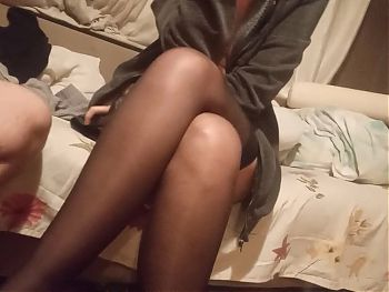 wife gives me footjob in stockings black pantyhose