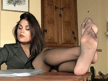 Brunette Secretary Chiara Shows Pantyhose Feet