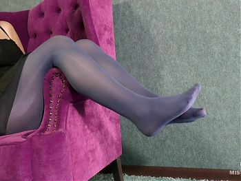 Mistress Feet Tease In Blue Pantyhose And Dangling High Heels
