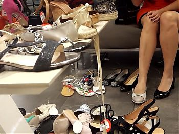 Shoe shopping Gf gives upskirt, sexy legs, feet, toes