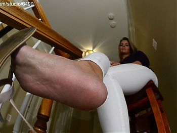 Horny Brunette Showing Her Jeans Legs and Bare Feet – Sexy